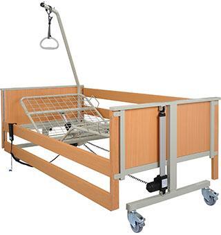 aks-L4/L5 das Standardpflegebett für die Pflege zu Hause oder in Einrichtungen ist optional mit Fußtieflagerung und mit 4-fach geteilter Metallgitter- oder Holzfederleisten-Liegefläche erhältlich.