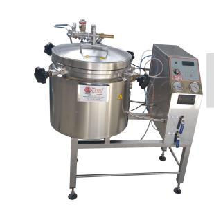 Autoclave for sterilization, vertical cylindrical type, electrically heated, door with manual locking, built in stainless steel AISI 304. FILLING, HEATING-STERILIZATION, COOLING, EXHAUST.