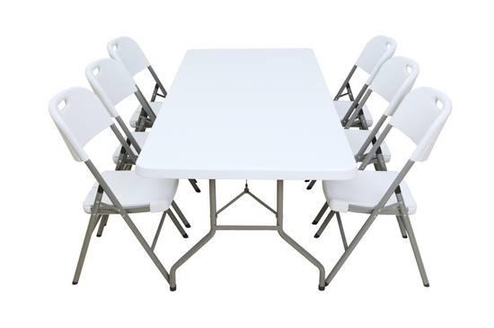 Mesa Banquete XXL T020, medida 200*90 cm, especial HoReCa + Sillas Plegables Blancas C012.