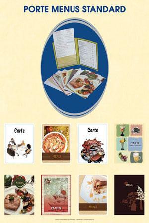 Porte menus standard, avec de nombreux motifs ; avec 2 pochettes pour insérer 2 feuillets A4.