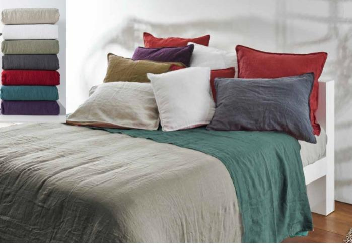 Flax-linen bedding made in Portugal.
