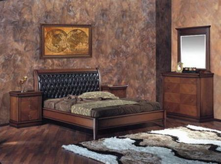Bedroom set walnut finish with marquetry design