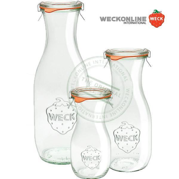 Bocaux et bouteilles en verre de la célèbre marque Weck ! Bocaux en verre avec joints en caoutchouc et couvercles en verre (inclus). Les clips de fermeture en inox sont en supplément, car ils sont réu