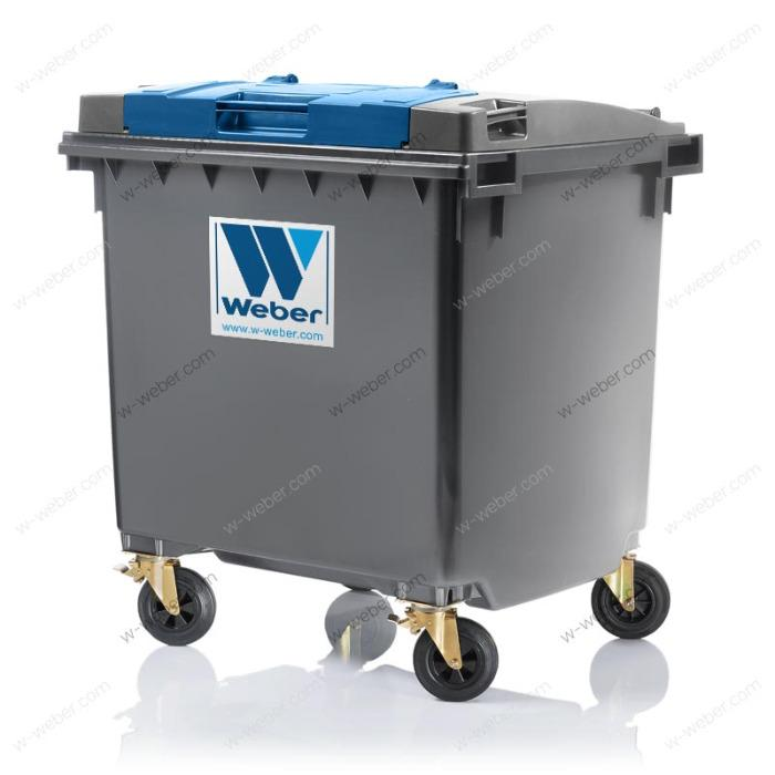 Dustbins, Wheelie bins, mobile waste bins, 1100 litre flat lid, Lid in Lid