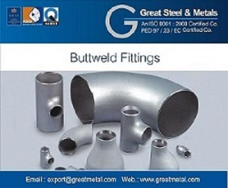 Great Steel & Metals is recognized as the Manufacturer  and exporter of Buttweld Fittings that are designed to connect the pipes. Size : 1/2″NB TO 48″NB IN