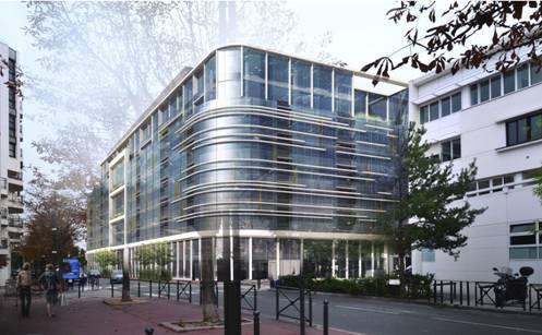 Curvado de muro cortina para edificio en París (Francia).
