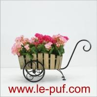 Metal flower stand with wooden cashpot