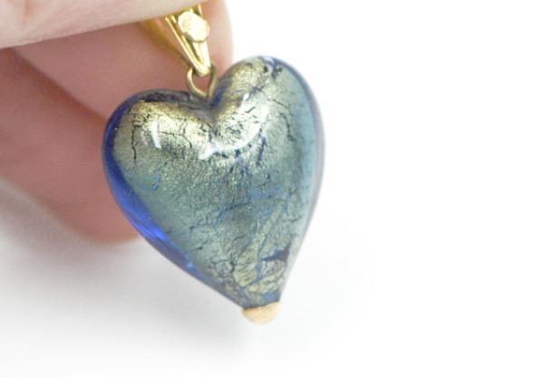 Murano Heart & 18K Gold Pendant