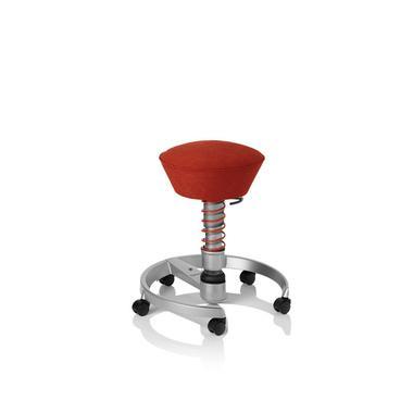 Le siège ergonomique Swopper dans sa version rouge et roulettes