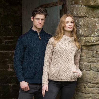 wool cardigans with cables for ladies and men