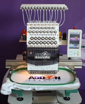 Single head embroidery machine for cap, t shirt, polo... We can had sequin and cording on demand.