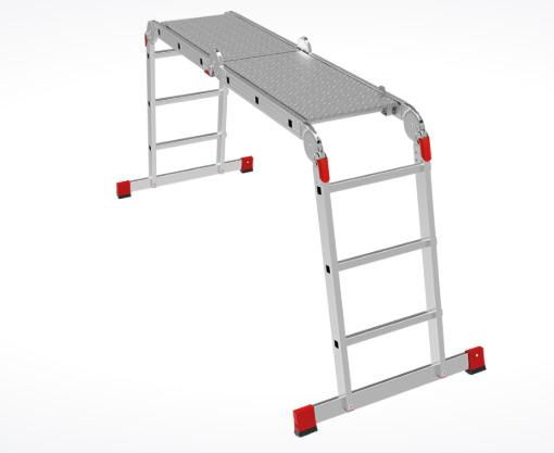 Professional multipurpose rung ladder with board