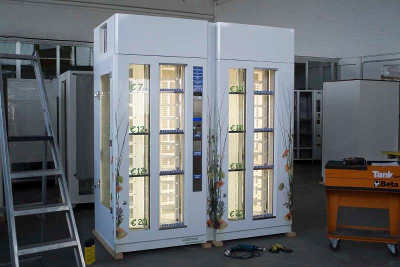 Our Naturae flower vending machine, double configuration, able to sell up to 48 products.