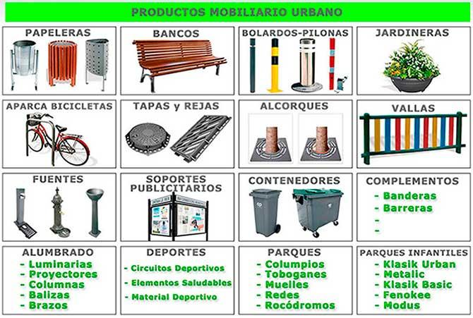 litter bins, planters, containers, fountains, urban benches, bollards, bicycle parking, cabinets, recycling bins, mailboxes, lockers,