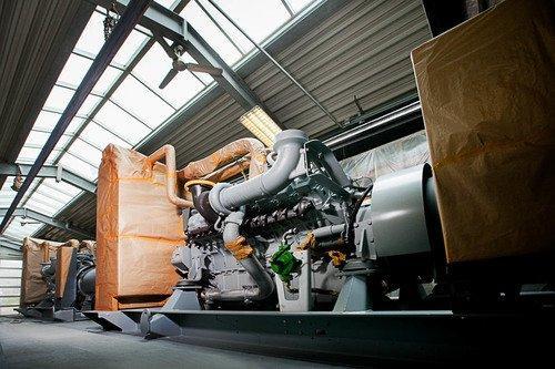 Lackierung eines Dieselaggregates