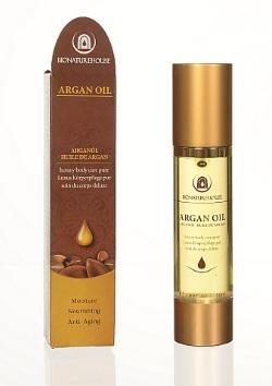 Arganöl Luxus Körperpflege pur im Airless-Flacon, hochwertig im klassisch-orientalischen Design