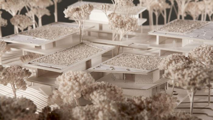 Architecte : François FONTÈS Projet : Projet finaliste concours EDF Bas Carbone 2008. Matériaux : carton, bois, plexiglas, végétation naturelle.E. : 1/200 Dim. : 45 X 45 cm
