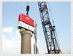 Two main types of our vibratory hammers are excavator mounted OVR Series and crane hanging SVR series.