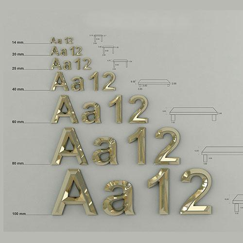 3d metal letters dimensions