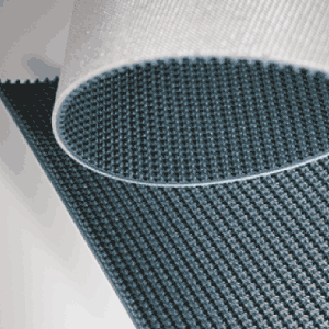 PVCCON belt types with basket weave and supergrip patterns on top for keeping the conveyed products in line.