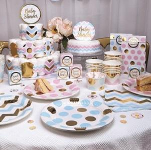 A mix of pink and blue dots and chevrons combined with gorgeous accents in shiny gold. Pattern Works is super versatile, including mix and match options for a variety of occasions.