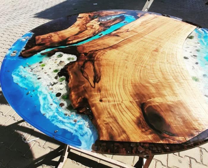Walnut tree epoxy table