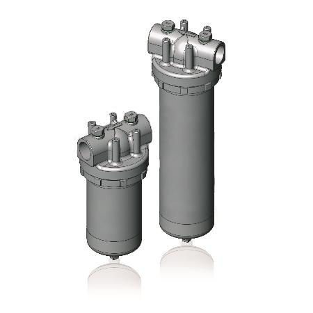 1FU Single Cartridge Filter Housing in 304 or 316 Stainless Steel for Industrial applications. Inline design.
