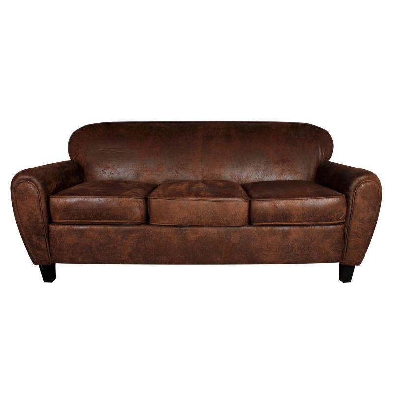 Confortable sofa de tres plazas de estilo Vintage con un acabado de microgamuza estilo piel envejecida lo que lo hace adaptable a uso comercial además del residencial. Medidas: 190x85x80cm.