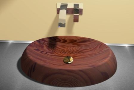 Wooden basin OMEGA 1is placed on the plate