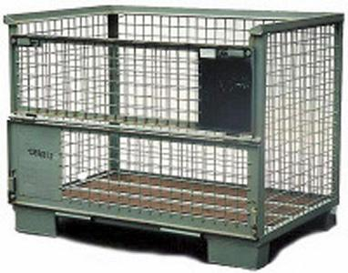 Wire mesh pallet cage. Manufacture of any production according to drawings. Painted or galvanized.