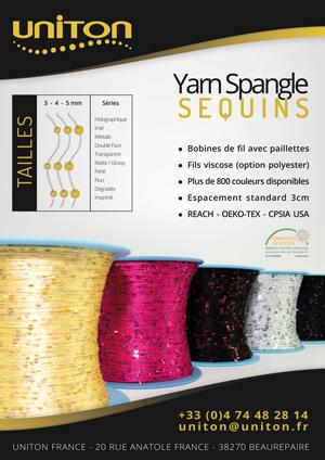 Bobines de fil avec paillettes | Fils viscose (option polyester) | Plus de 800 couleurs disponibles | Espacement standard 3cm | REACH - OEKO-TEX - CPSIA USA
