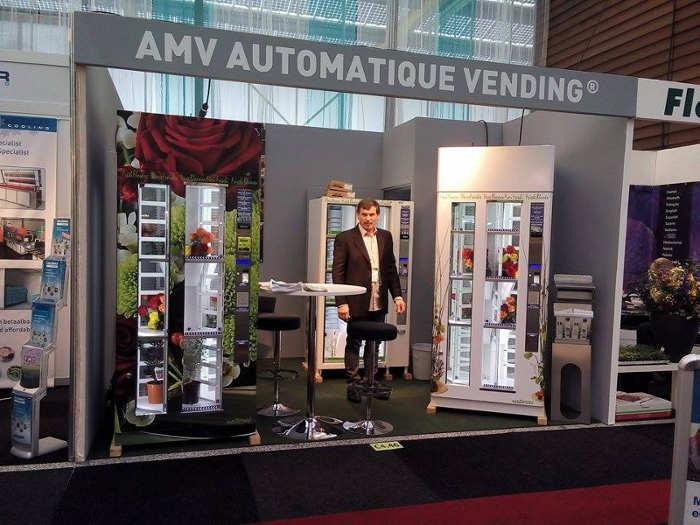 Showcasing three different flower vending machines during IFTF 2015 in Holland