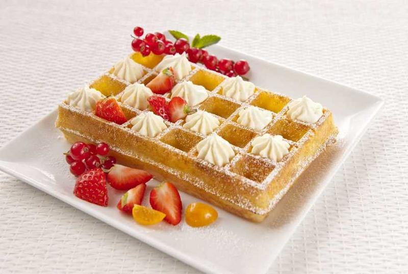 Brussels Waffle prepared  withwhipped cream and fruits Directly from freezer: 4 minutes in an oven