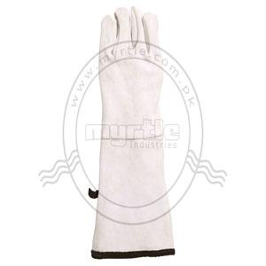 Material: Fine split leather, Inner cotton fleece, Two layers, Polyester tape with hanger Size: 24+21x15 cm Weight: 500 grm. / Pair Performance: Heavy Duty