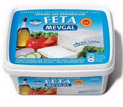 MEVGAL Feta in brine:     Contains cut and ready to serve slices, which are preserved in brine     Specially designed as to keep the pieces always in the brine     Easy to open and seals again