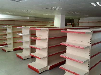 supermarket wall units, single side, double side, racking, shelving,checkout