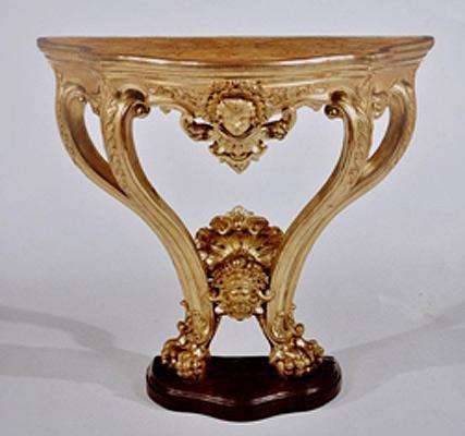 Piccola consolle in legno dorato con base e piano in finto marmo Napoli prima metà del XIX sec. stile neoclassico