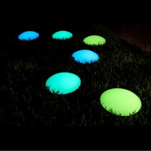 Photoluminescent Roadmarkers recharge themself with light and glow in in the dark all night long to create a path of light in your garden, charming and safe.