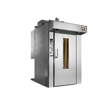 The rotating rack oven is a convection oven with forced air circulation. Rotor is a rear oven to reduce the overall dimensions, the burner and heat exchanger are placed on the back side. Its versatile