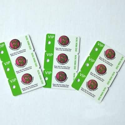 3 up key tags,custom die cuts,plastic key tag cards
