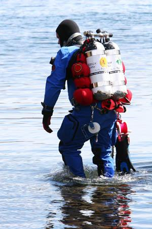 Scuba diver wearing dry suit and BCD made Riverseal weldable fabrics.