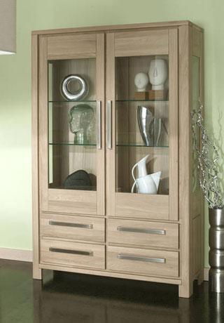 Solid oak glass door display cabinets