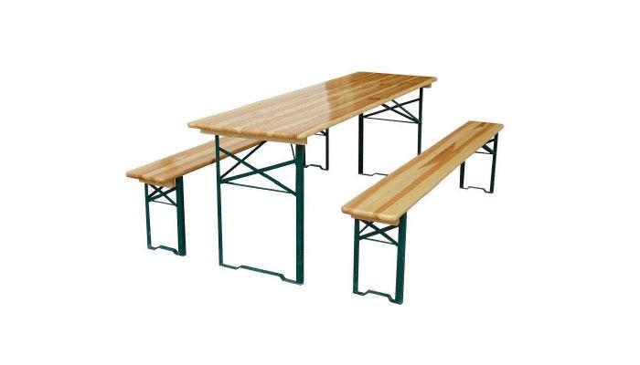 Foldable beer table sets. Frame from galvanized steel, covered with powder ink according to RAL system. Table surface (22 mm) and bench seat (25 mm) made of glued and varnished softwood sawn timber.