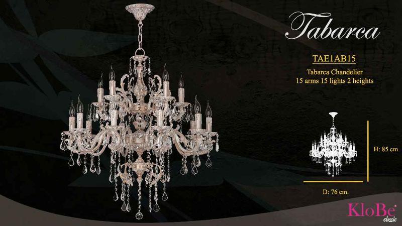 Luminaria de estilo clásico de dos pisos con 15 brazos y 15 luces, disponible en varias decoraciones, fabricadas en latón, con o sin cristal, conoce toda la colección en nuestra web.76x85 cms y 22 kgs
