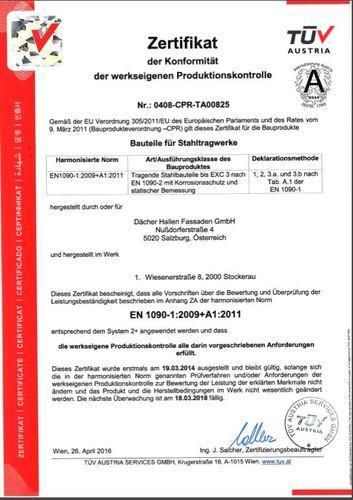 Konformitätszertifikat EN 1090