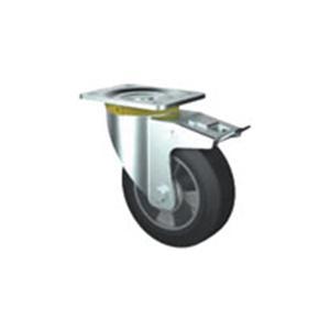 Swivel castor with elastic rubber wheel