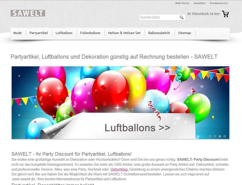 Sawelt Online - Shop für Luftballons, Helium und Partyartikel. Alles für Hochzeit, Geburtstag und Party Dekoration. Große Auswahl an Luftballons & Herzballons zu günstigen Preisen.