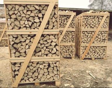 chopped wood from alder, birch, hornbeam, oak and ash.