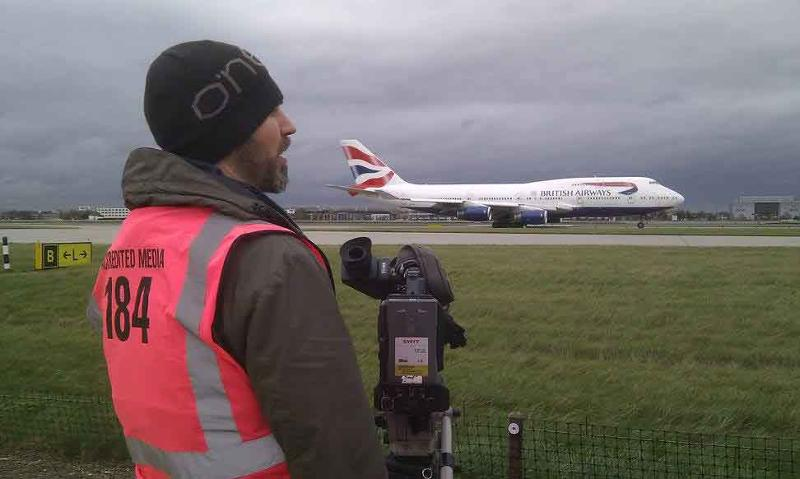Filming on Heathrow Airport's runway