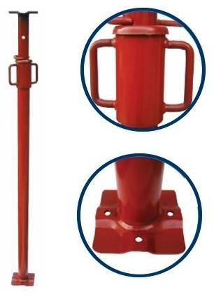 Étais normes européennes Conformes à la norme EN 1065 Étais métallique de 2.80 à 4.80 m de hauteur , Fût : Ø 55 mm Coulisse : Ø 48,3 mm Ecrou acier mécano soudé Rondelle d'appui bombée 110*110*4 mm